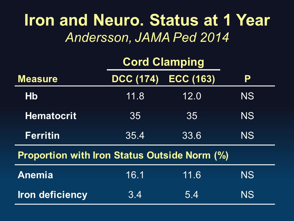 Iron and Neuro. Status at 1 Year Andersson, JAMA Ped 2014