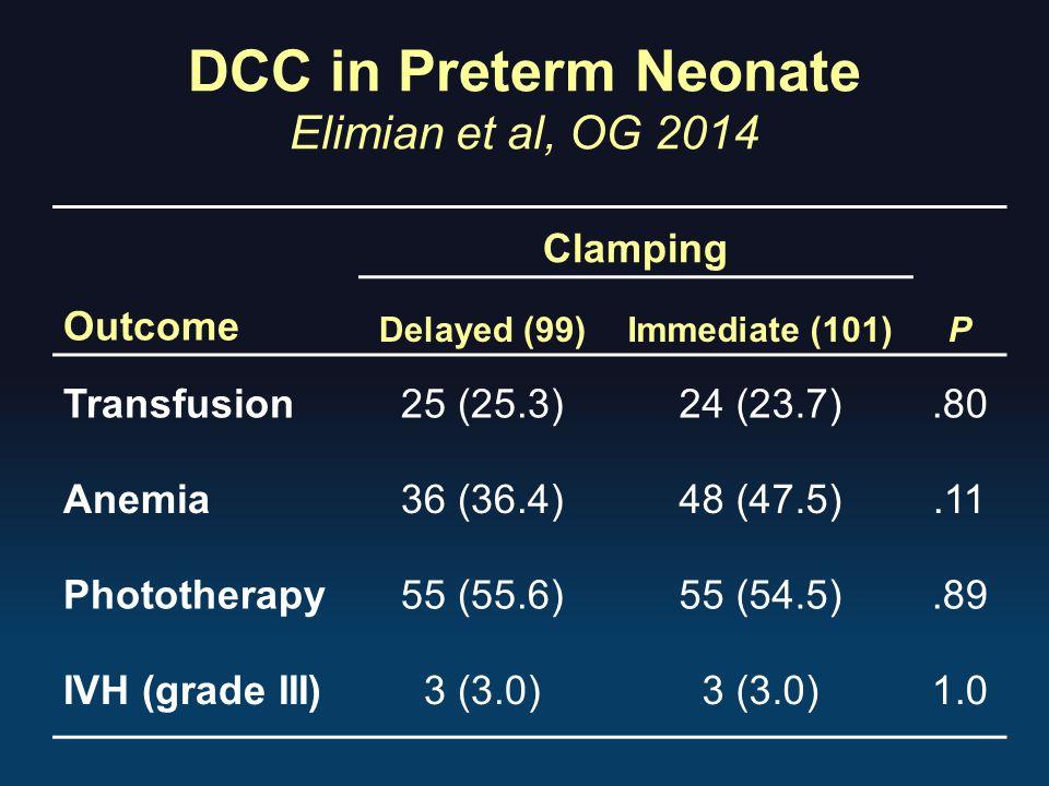 DCC in Preterm Neonate Elimian et al, OG 2014