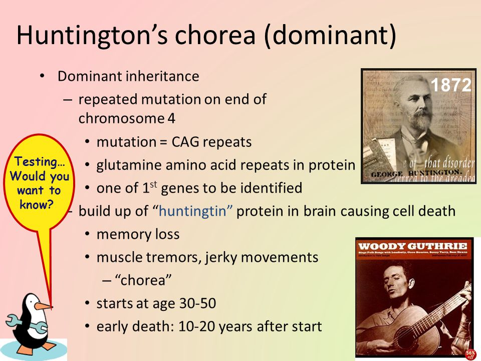 Huntington's chorea (dominant)