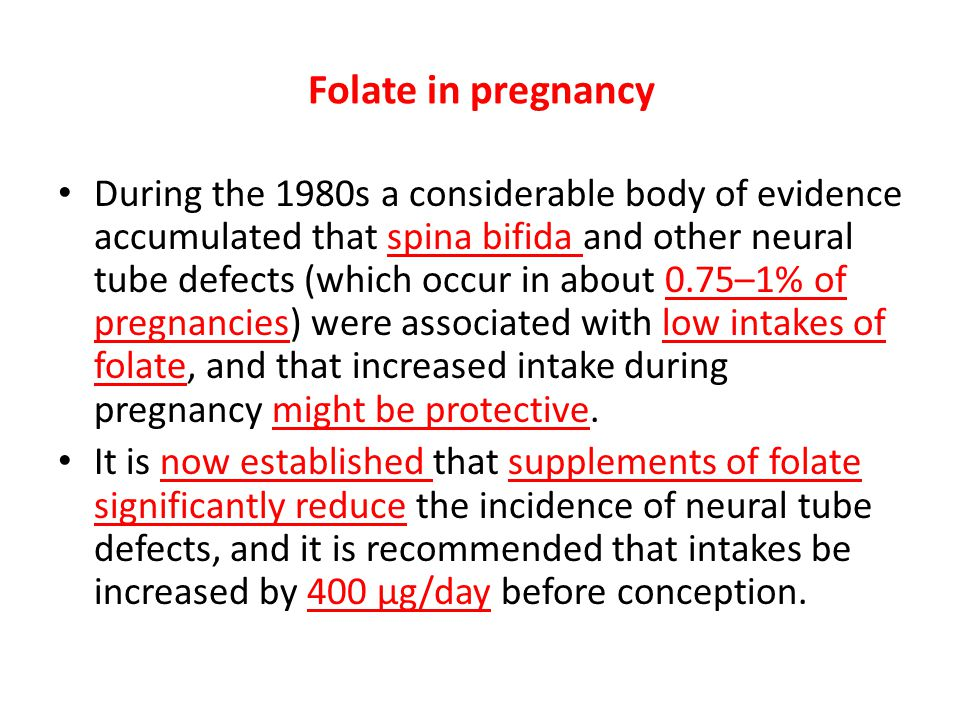 Folate in pregnancy