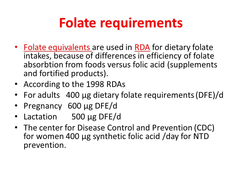 Folate requirements