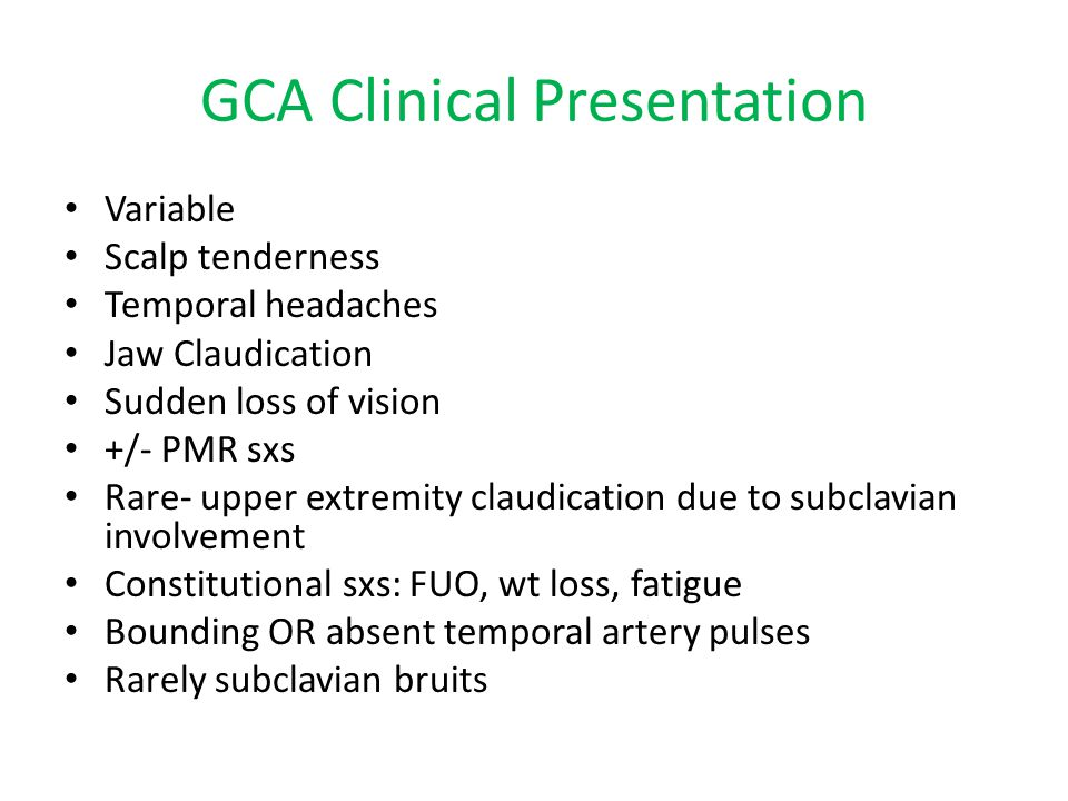 GCA Clinical Presentation