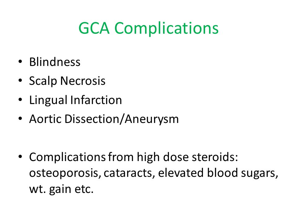 GCA Complications Blindness Scalp Necrosis Lingual Infarction