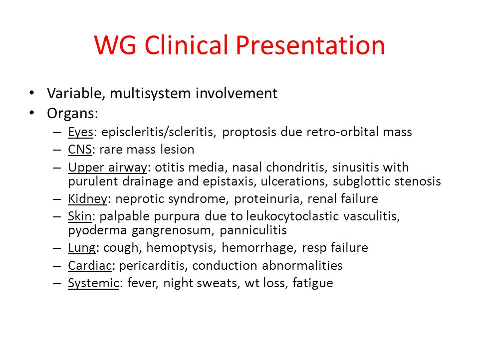 WG Clinical Presentation