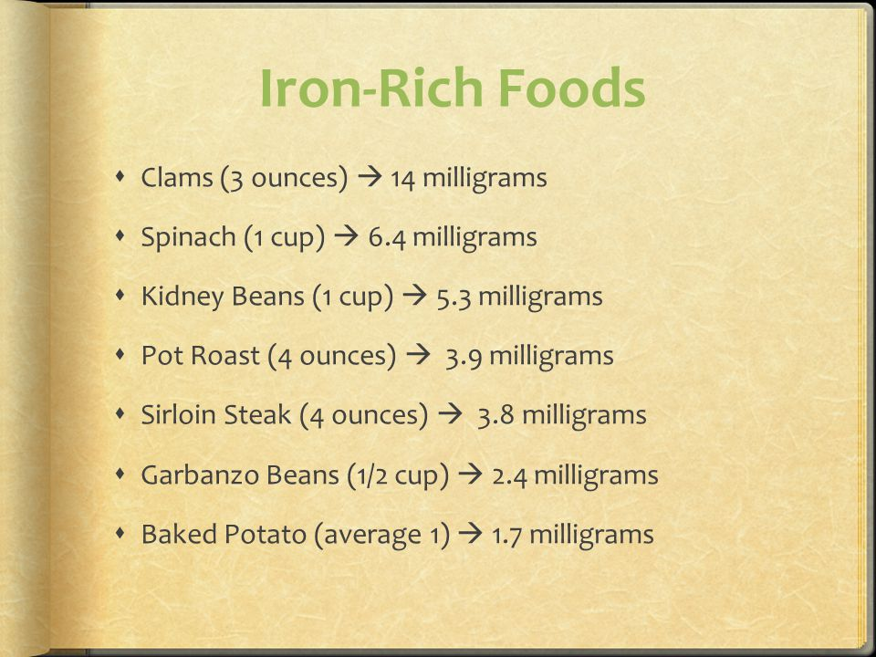 Iron-Rich Foods Clams (3 ounces)  14 milligrams