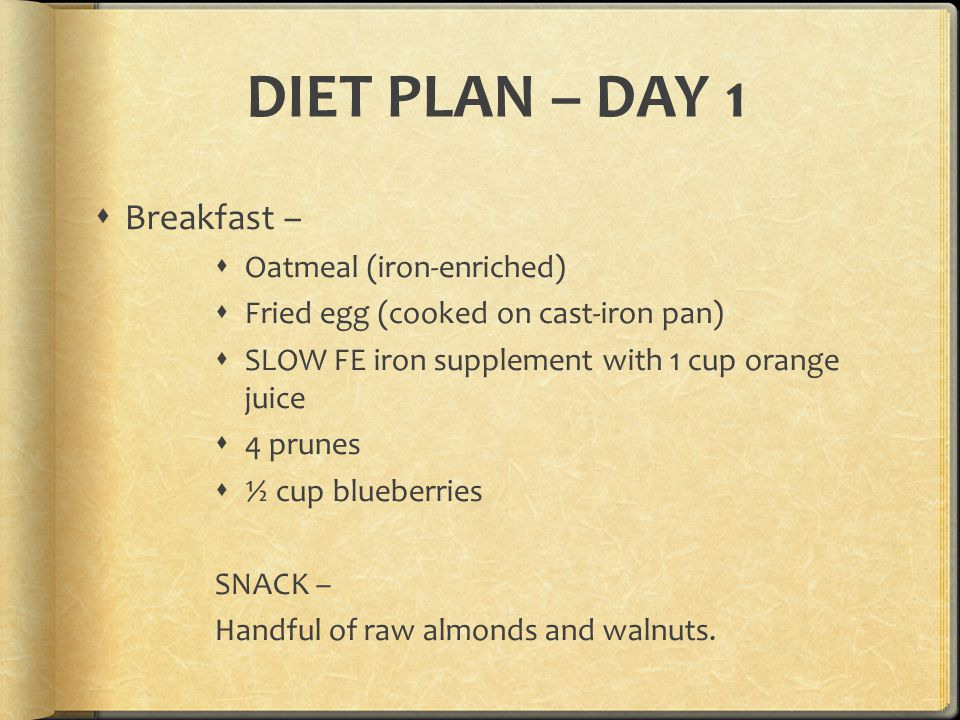 DIET PLAN – DAY 1 Breakfast – Oatmeal (iron-enriched)