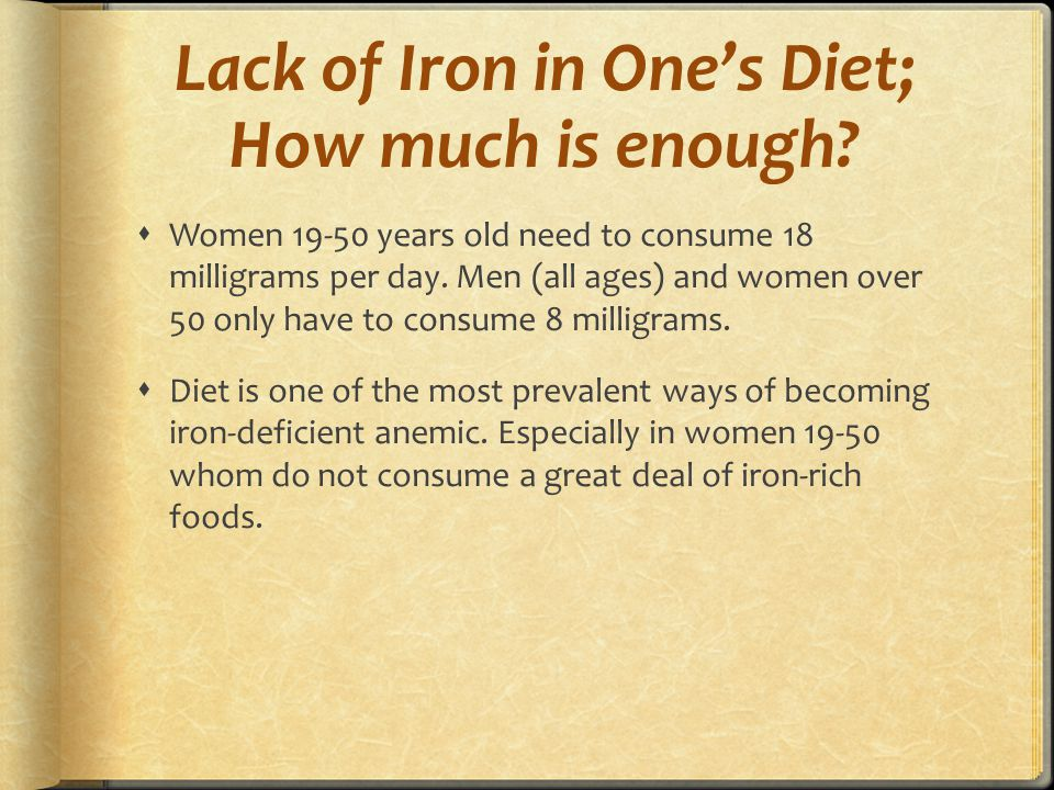 Lack of Iron in One's Diet; How much is enough