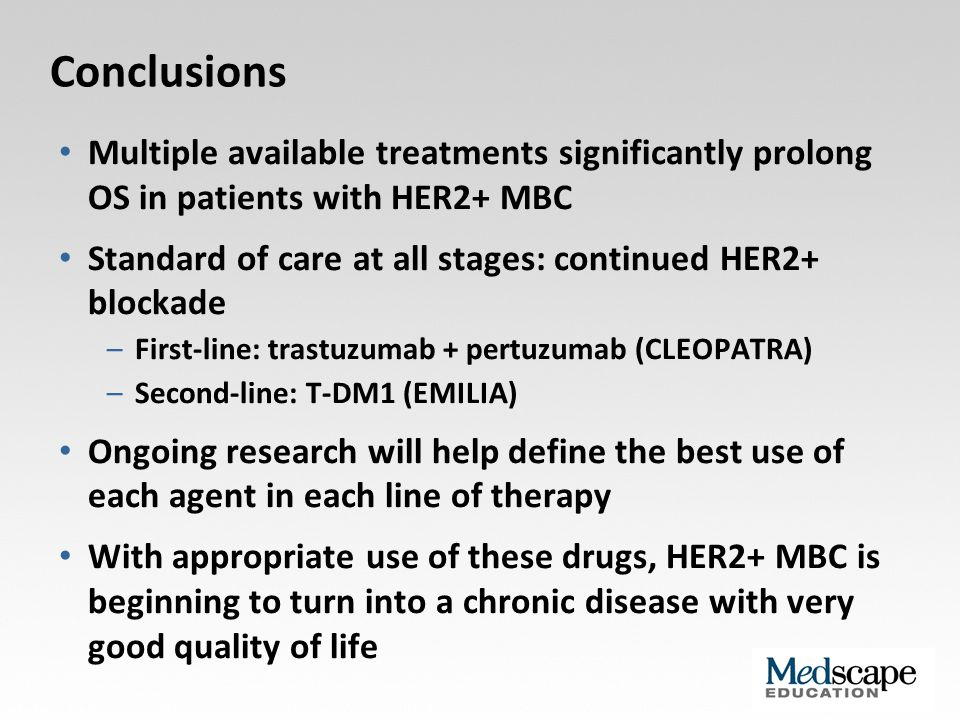Conclusions Multiple available treatments significantly prolong OS in patients with HER2+ MBC.