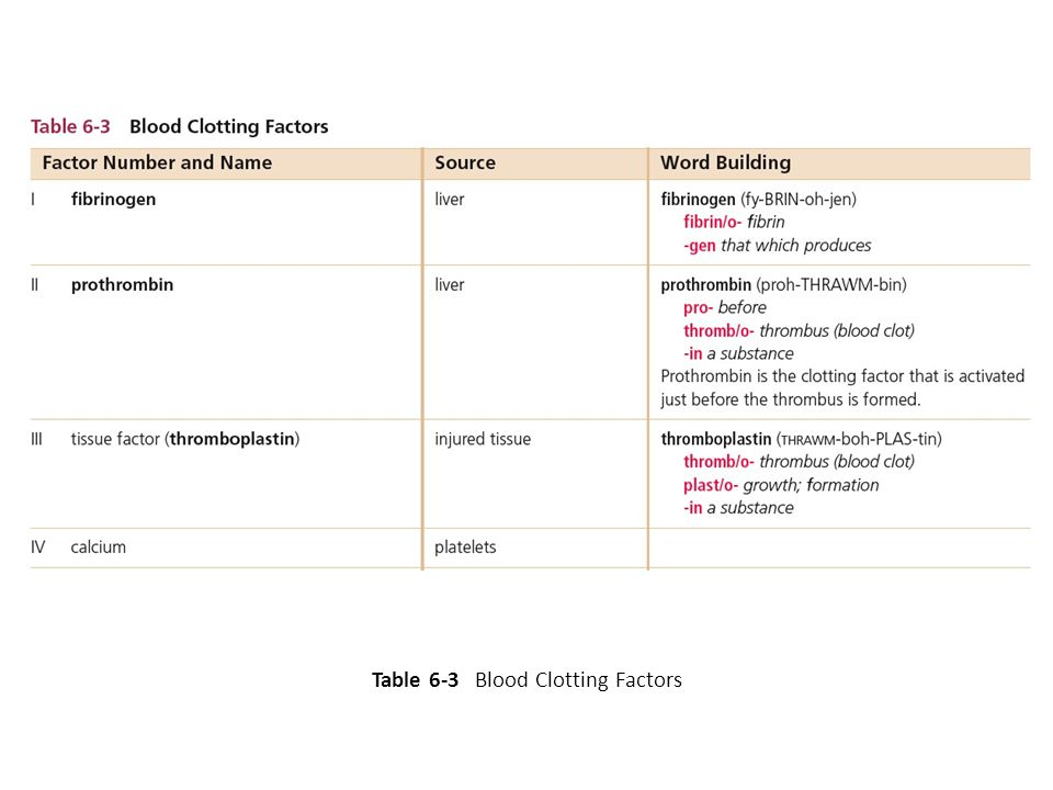 Table 6-3 Blood Clotting Factors