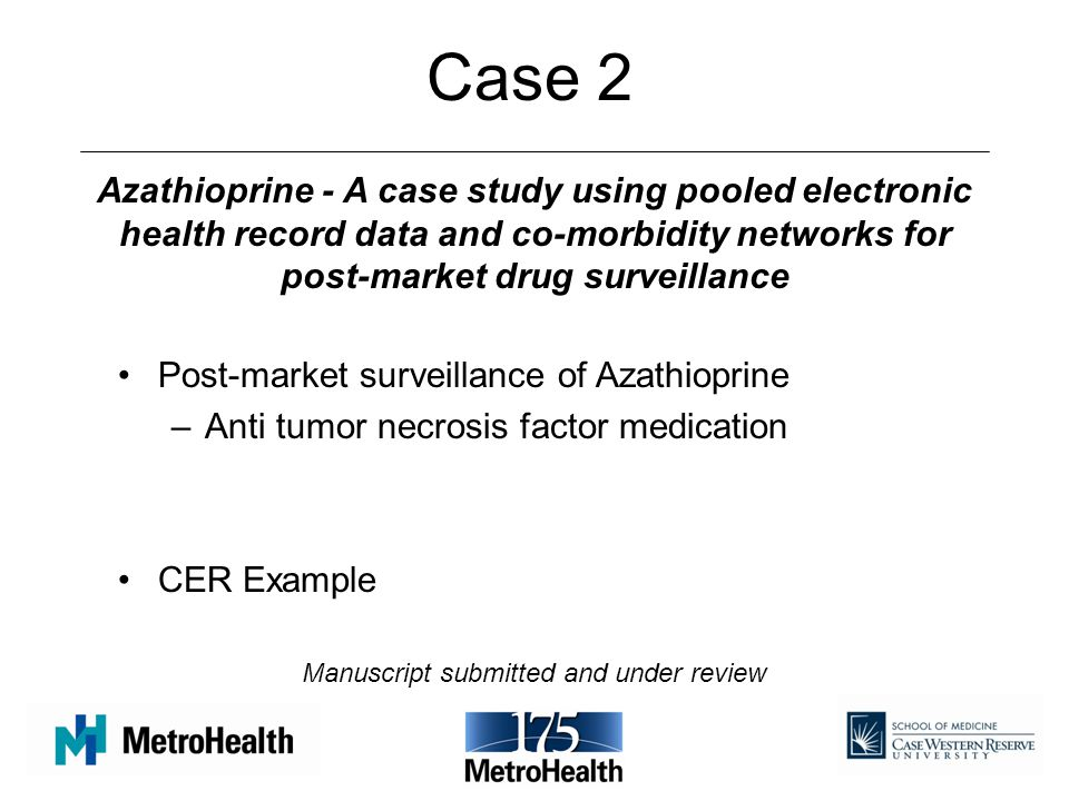 Case 2 Azathioprine - A case study using pooled electronic health record data and co-morbidity networks for post-market drug surveillance.