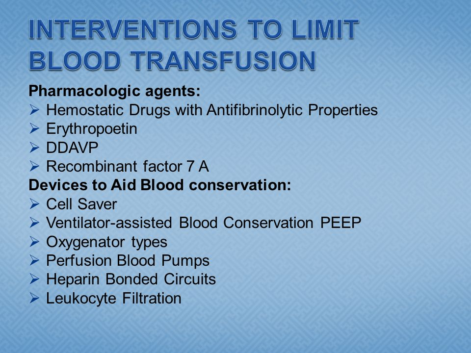 INTERVENTIONS TO LIMIT BLOOD TRANSFUSION