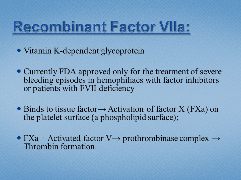 Recombinant Factor VIIa: