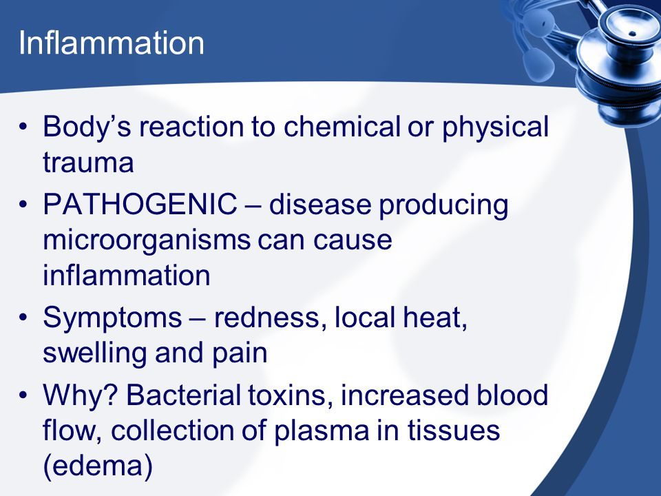 Inflammation Body's reaction to chemical or physical trauma