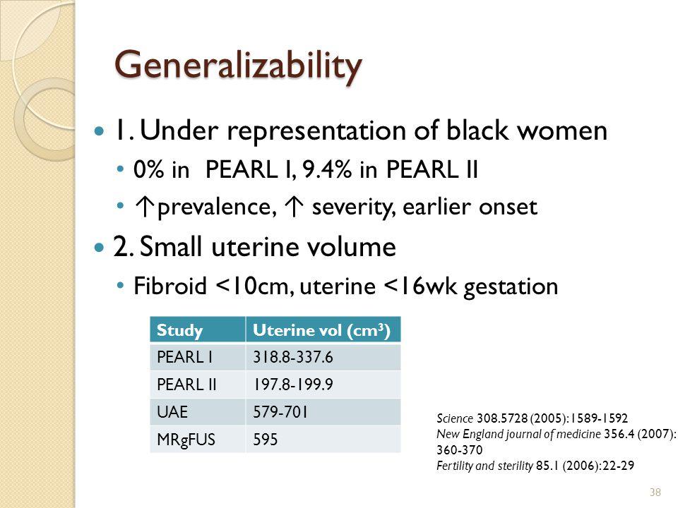 Generalizability 1. Under representation of black women