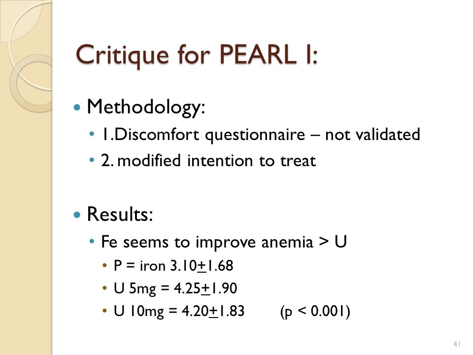 Critique for PEARL I: Methodology: Results:
