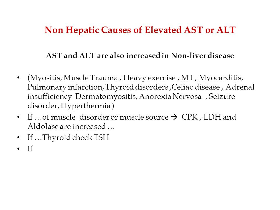 Non Hepatic Causes of Elevated AST or ALT