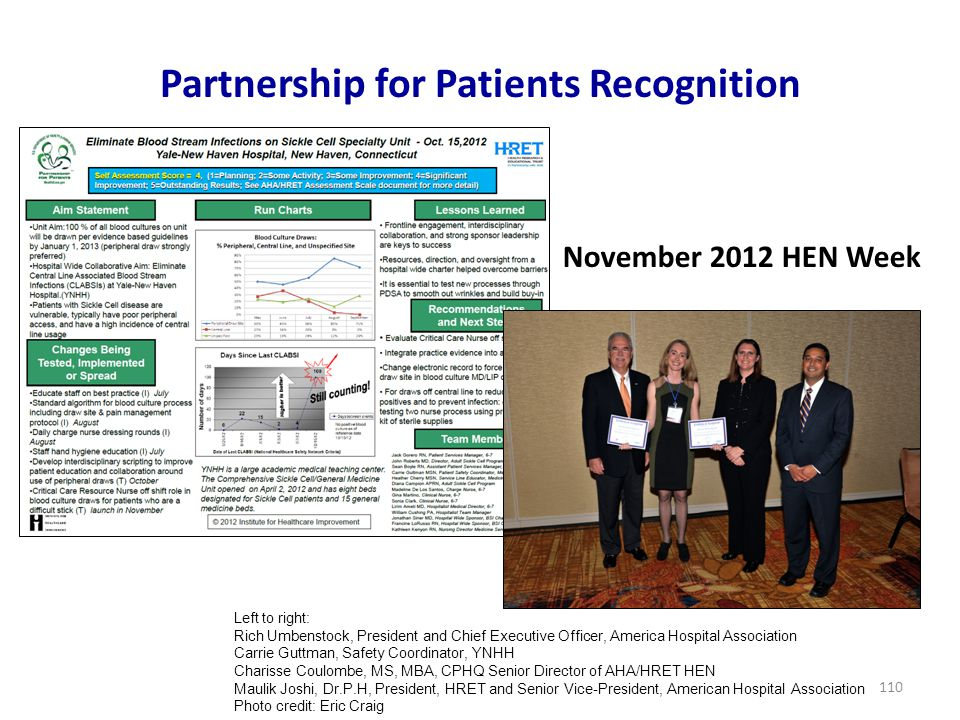 Partnership for Patients Recognition