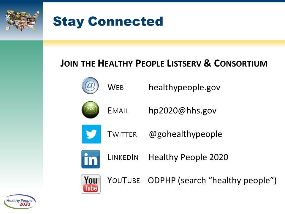 Join the Healthy People Listserv & Consortium