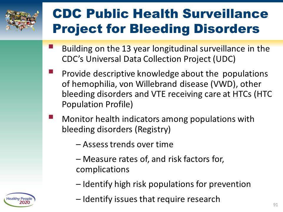 CDC Public Health Surveillance Project for Bleeding Disorders