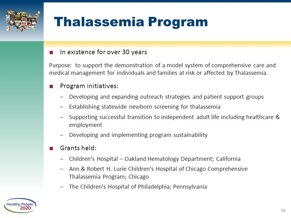 Thalassemia Program In existence for over 30 years