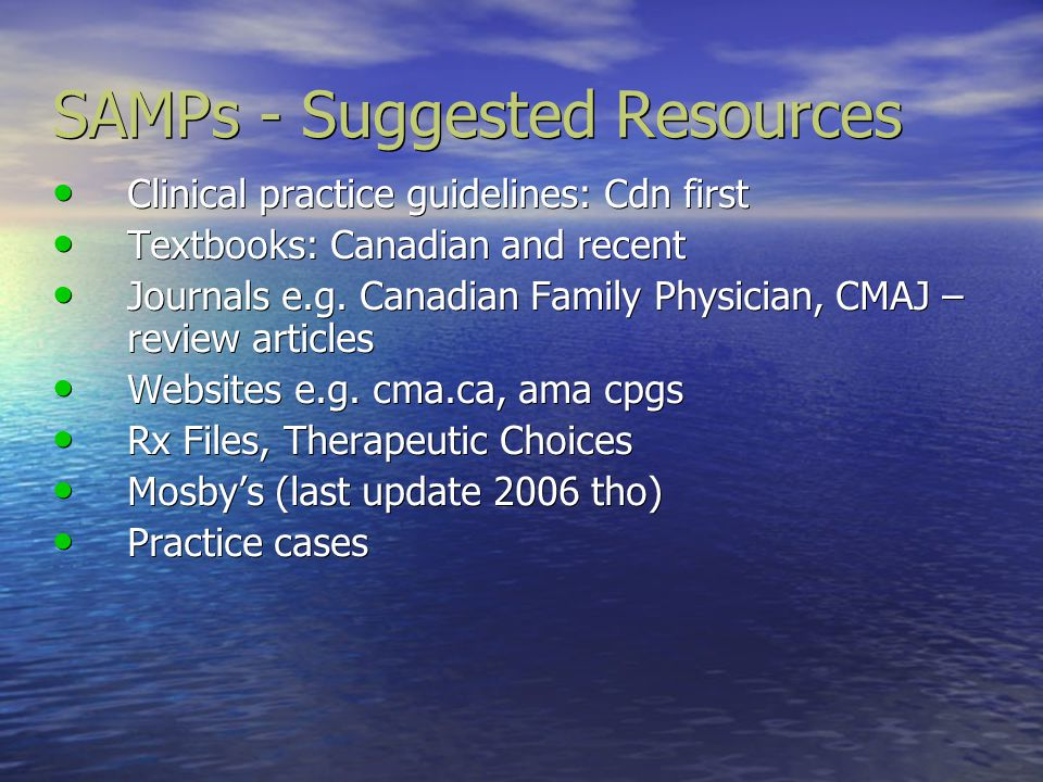 SAMPs - Suggested Resources