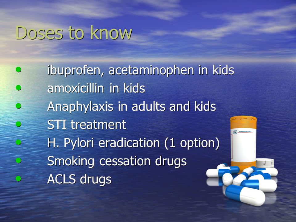 Doses to know ibuprofen, acetaminophen in kids amoxicillin in kids