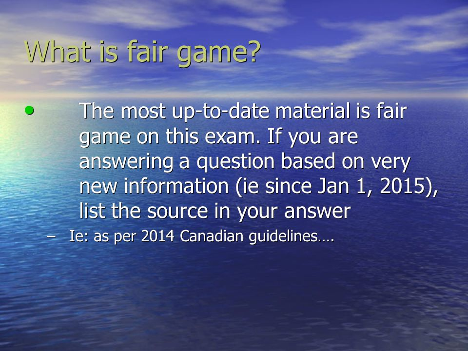 What is fair game