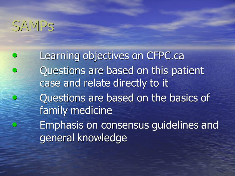 SAMPs Learning objectives on CFPC.ca