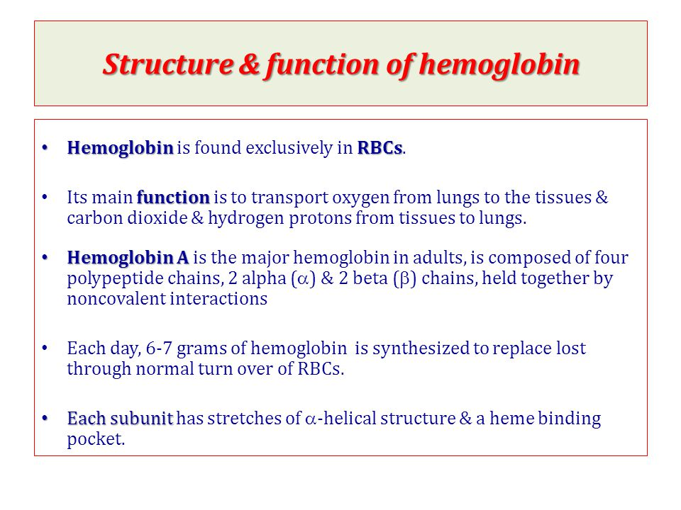 Structure & function of hemoglobin