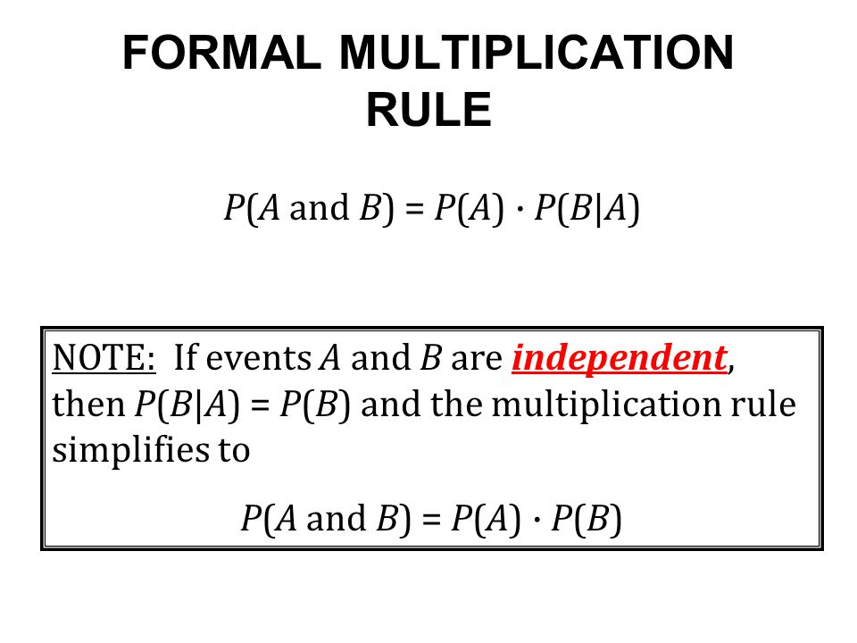 FORMAL MULTIPLICATION RULE