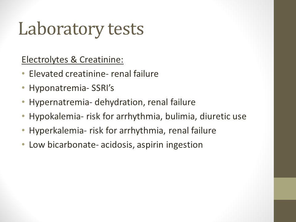 Laboratory tests Electrolytes & Creatinine: