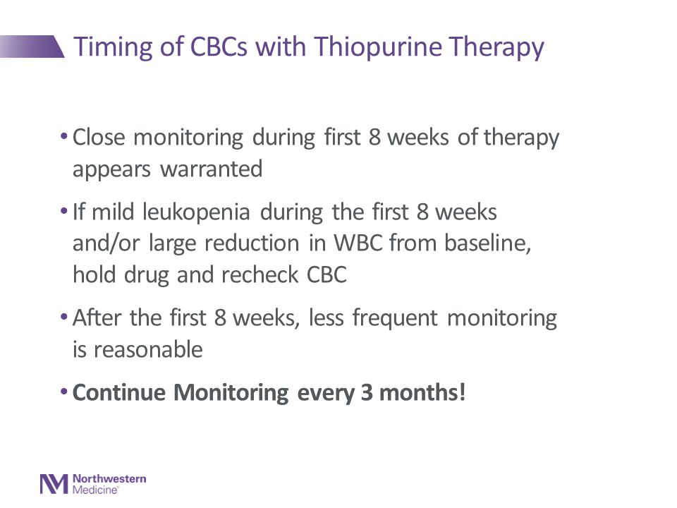 Timing of CBCs with Thiopurine Therapy