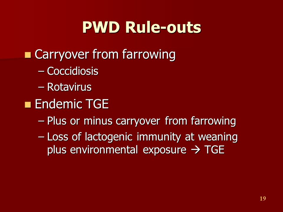 PWD Rule-outs Carryover from farrowing Endemic TGE Coccidiosis