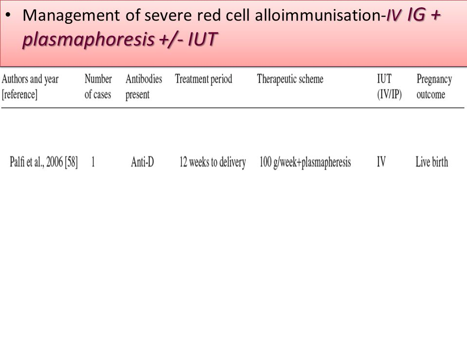 Management of severe red cell alloimmunisation-IV IG + plasmaphoresis +/- IUT