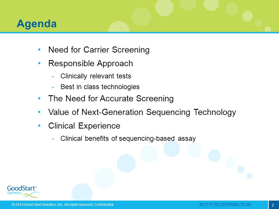 Agenda Need for Carrier Screening Responsible Approach