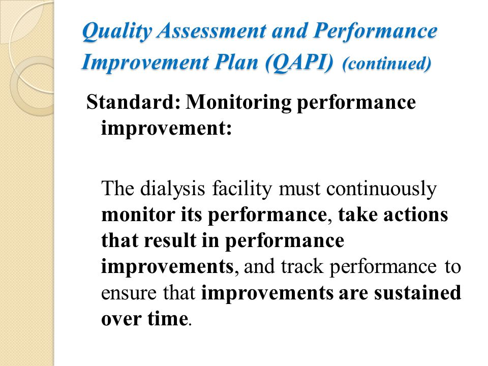 Quality Assessment and Performance Improvement Plan (QAPI) (continued)