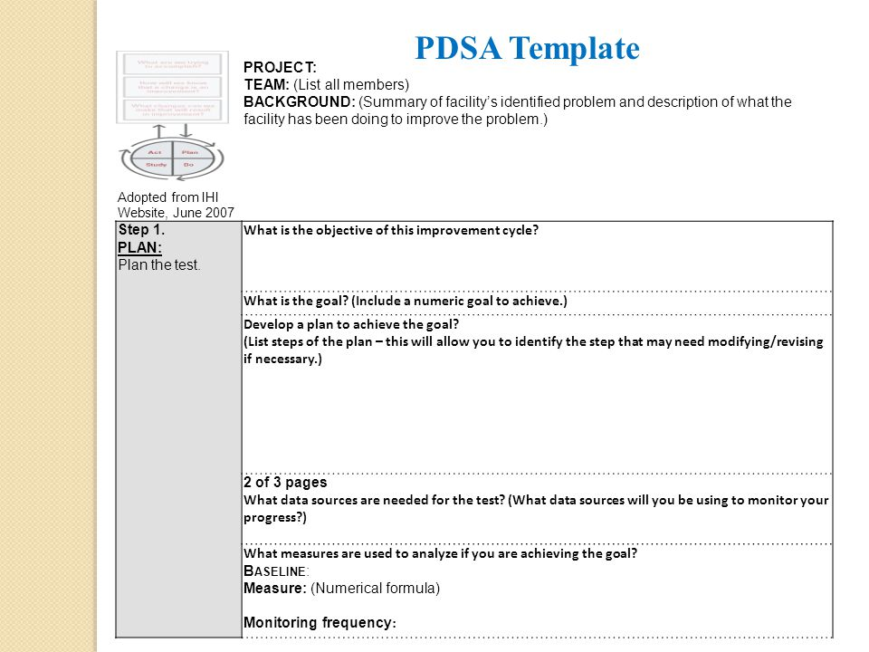 PDSA Template PROJECT: TEAM: (List all members)