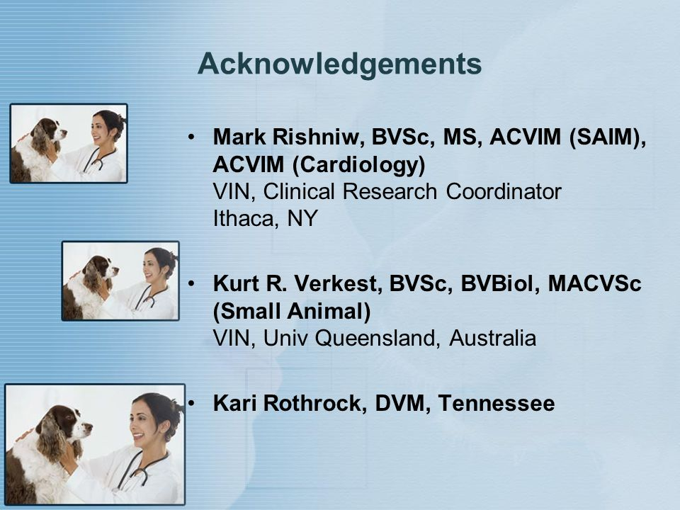 Acknowledgements Mark Rishniw, BVSc, MS, ACVIM (SAIM), ACVIM (Cardiology) VIN, Clinical Research Coordinator Ithaca, NY.