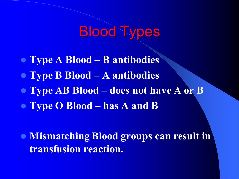 Blood Types Type A Blood – B antibodies Type B Blood – A antibodies