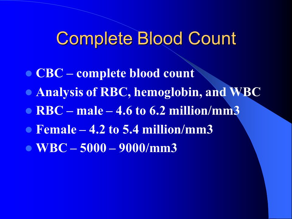 Complete Blood Count CBC – complete blood count