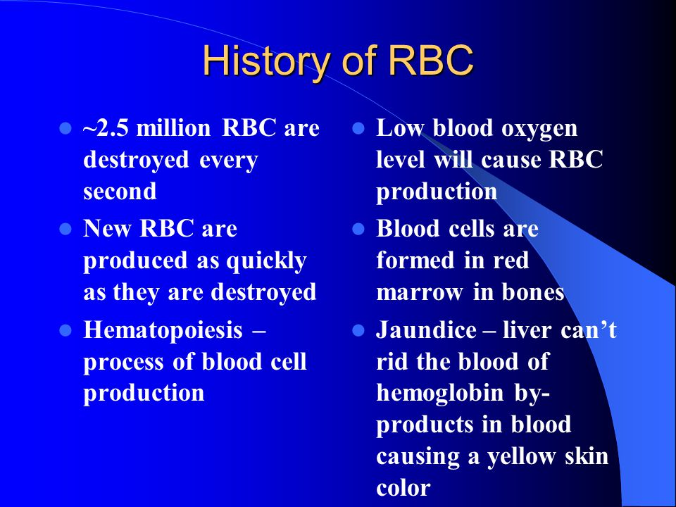 History of RBC ~2.5 million RBC are destroyed every second