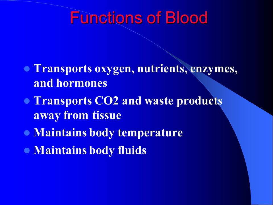 Functions of Blood Transports oxygen, nutrients, enzymes, and hormones