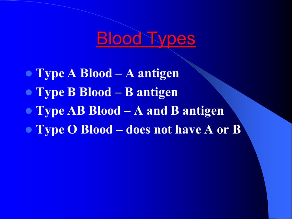 Blood Types Type A Blood – A antigen Type B Blood – B antigen