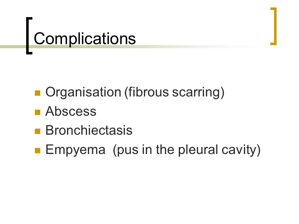 Complications Organisation (fibrous scarring) Abscess Bronchiectasis