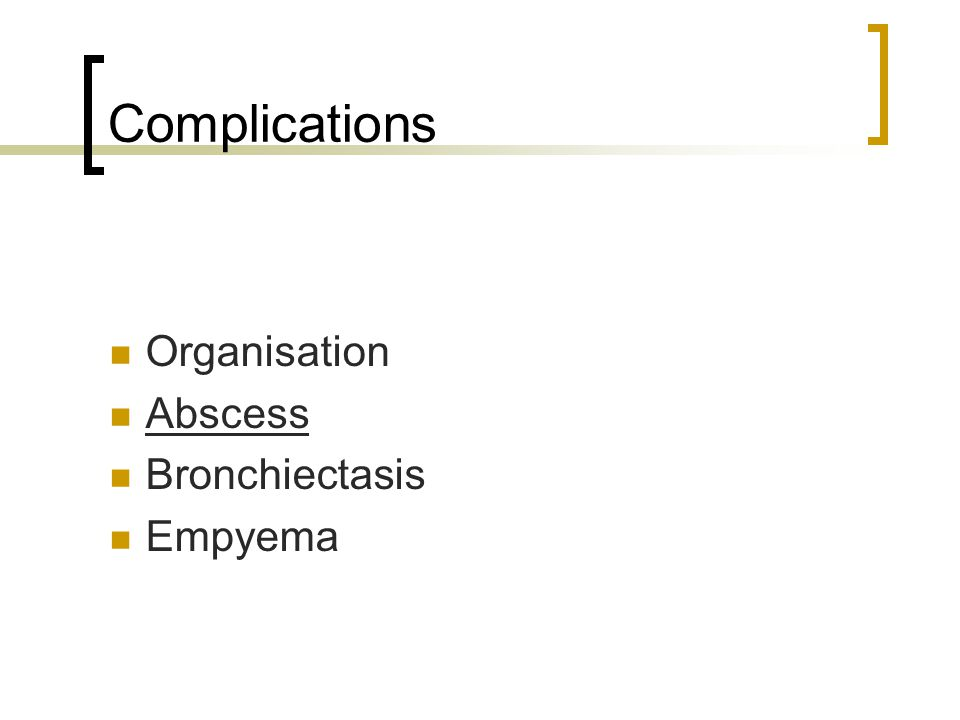 Complications Organisation Abscess Bronchiectasis Empyema