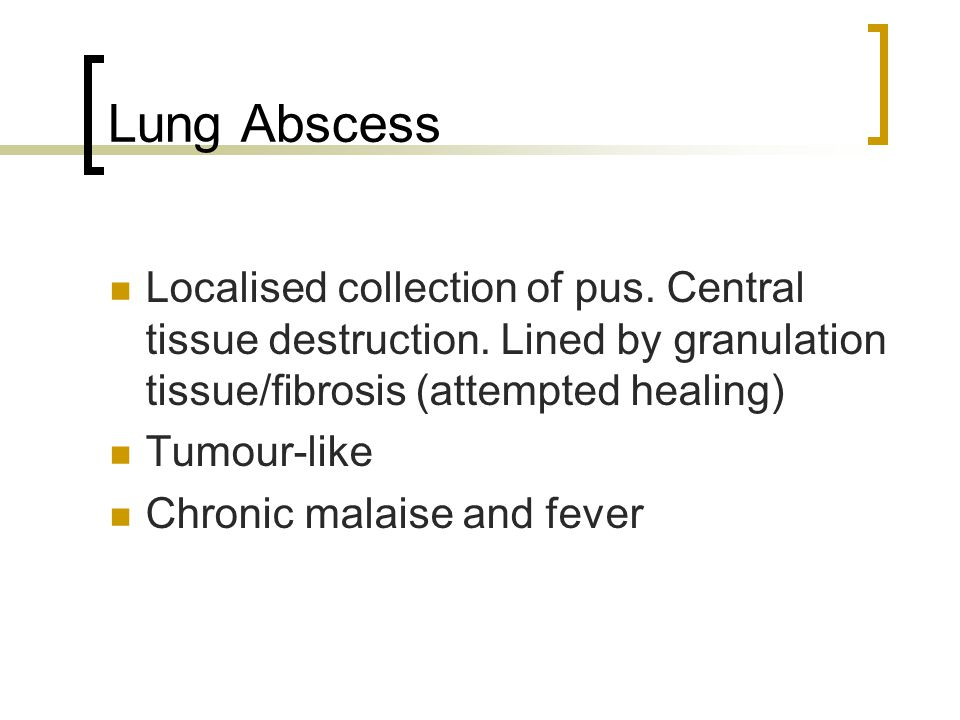 Lung Abscess Localised collection of pus. Central tissue destruction. Lined by granulation tissue/fibrosis (attempted healing)