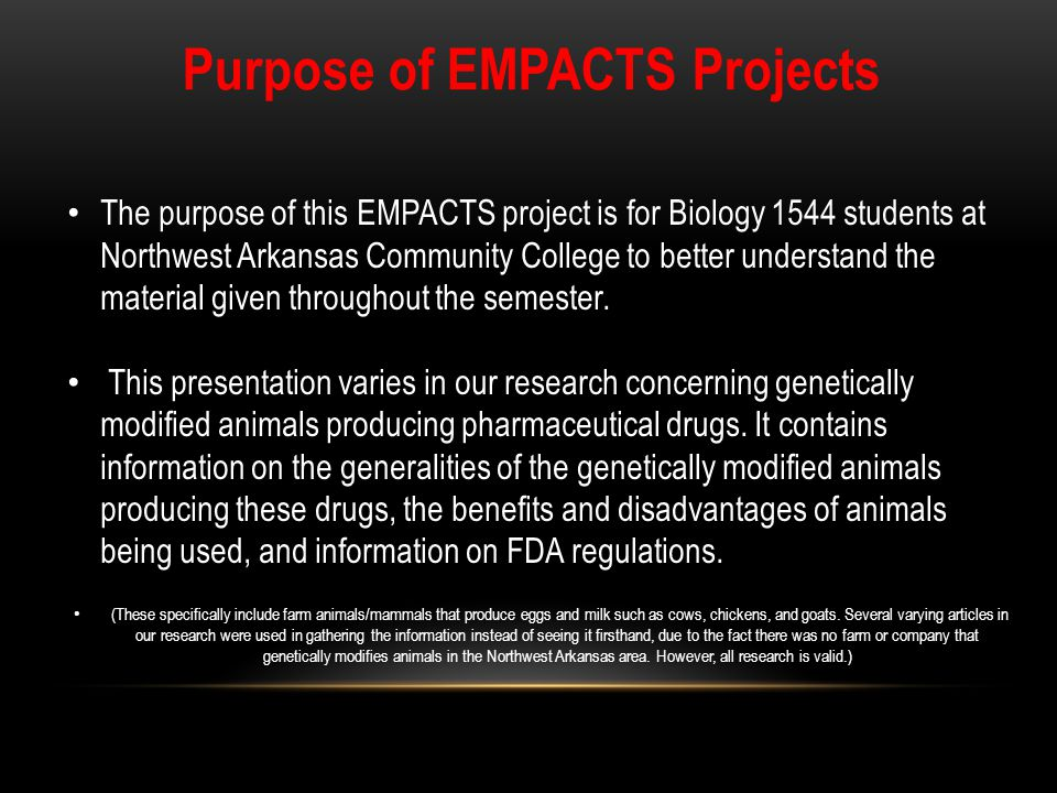 Purpose of EMPACTS Projects