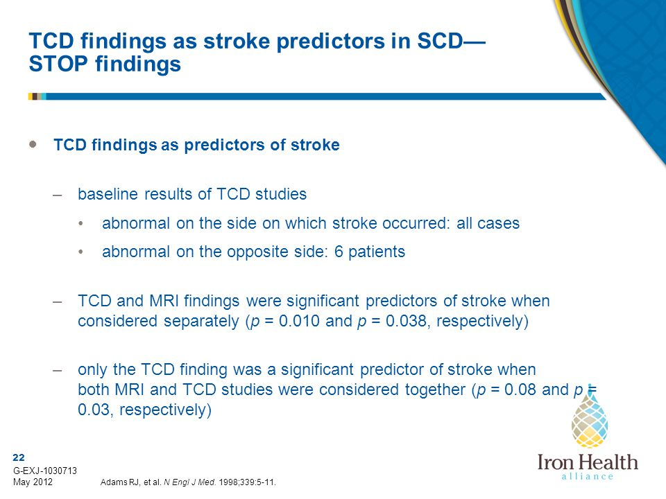 TCD findings as stroke predictors in SCD—STOP findings