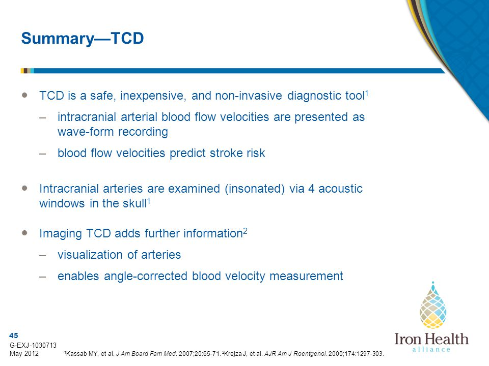 Summary—TCD TCD is a safe, inexpensive, and non-invasive diagnostic tool1.