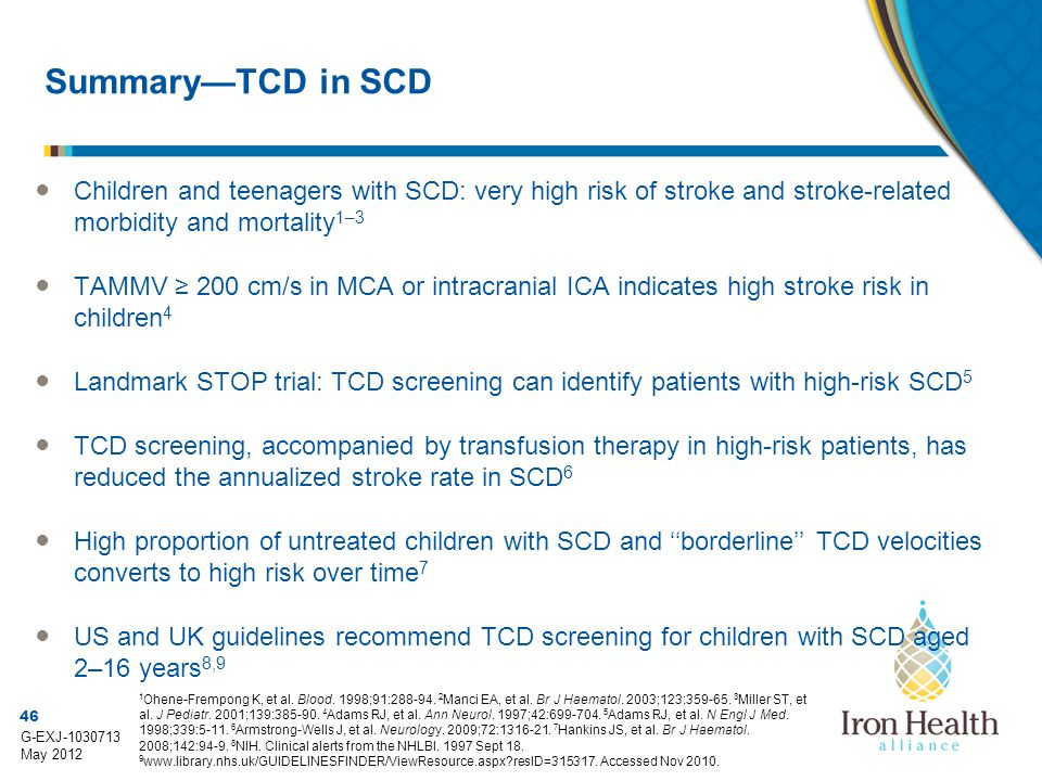 Summary—TCD in SCD Children and teenagers with SCD: very high risk of stroke and stroke-related morbidity and mortality1–3.